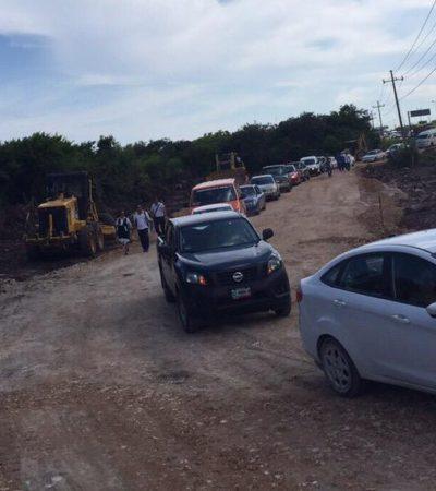 REAPERTURA PARCIAL DEL TRÁFICO EN LA CANCÚN-PLAYA: Tras desfonde de carretera, trabajan a marchas forzadas para habilitar paso provisional