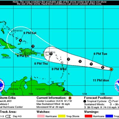 NACE NUEVA TORMENTA TROPICAL EN EL ATLÁNTICO: Monitorean trayectoria de 'Erika en ruta hacia el norte del Caribe