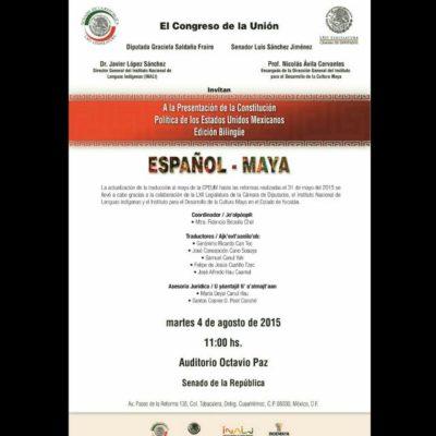 Presentarán en el Senado actualización bilingüe español-maya de la Constitución Mexicana