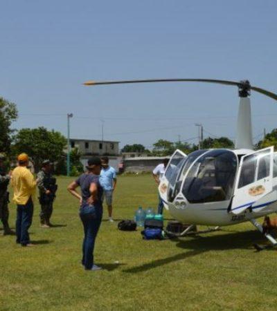 ATERRIZA HELICÓPTERO POR FALTA DE COMBUSTIBLE: Fuerte movilización militar en OPB por aeronave proveniente de Tabasco