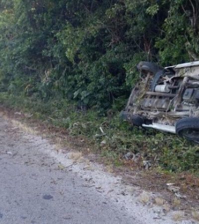 Un herido en accidente en la carretera Cancún-Mérida