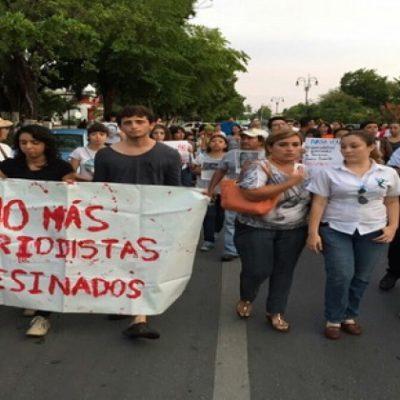 MARCHA CONTRA ASESINATOS DE PERIODISTAS EN MÉRIDA: Se manifiestan 250 comunicadores de Yucatán por Rubén Espinosa y 4 mujeres