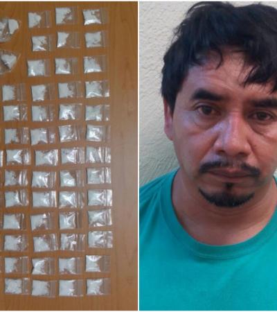 Detienen a 'tirador' independiente en Playa del Carmen con 59 dosis de cocaína