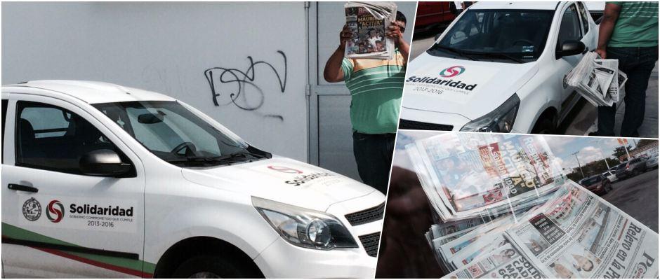 MÁS PROMOCIÓN DE MAURICIO CON CARGO AL ERARIO: Reparten periódicos con imagen del Alcalde en vehículos oficiales de Solidaridad