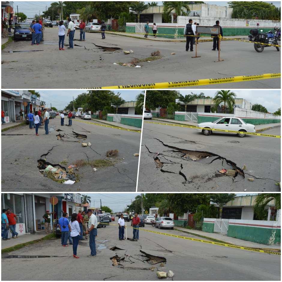 SE HUNDE LA TIERRA EN CHETUMAL: Lluvias provocan socavón de hasta 20 metros en la Calzada Veracruz; habría corrientes de agua subterráneas