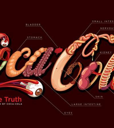 Rediseña nicaragüense el logo de Coca-Cola con los órganos más afectados por el consumo excesivo de esta bebida edulcorada