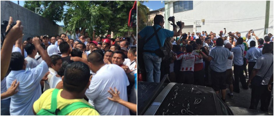 INTENTAN ROMPER HUELGA CON GOLPEADORES: Provoca CROC zafarrancho con choferes de Autocar en Cancún; seguirá el paro del transporte