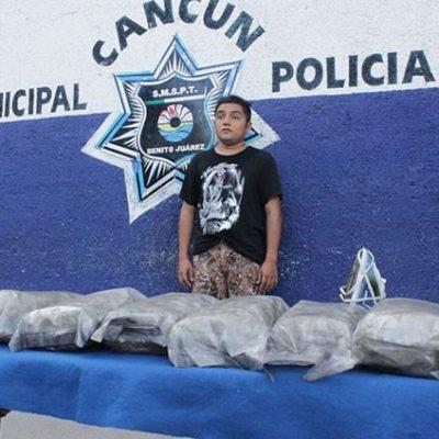 Detienen a un hombre con 10 kilos de marihuana en Cancún