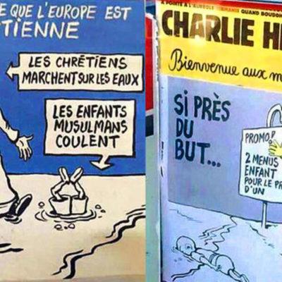 Causan polémica nuevos cartones de Charlie Hebdo sobre la crisis de inmigrantes en Europa