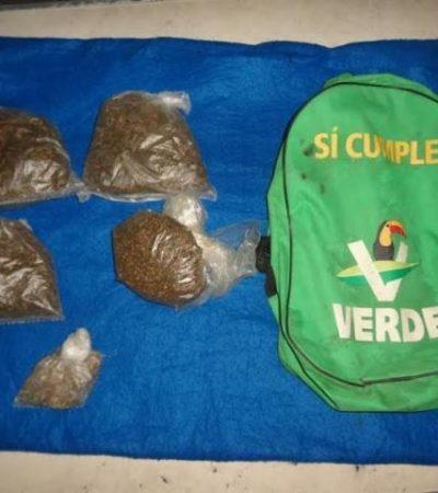 """""""VERDE SÍ CUMPLE"""": Detienen a menor con 4 bolsas de marihuana en la Región 103 de Cancún"""