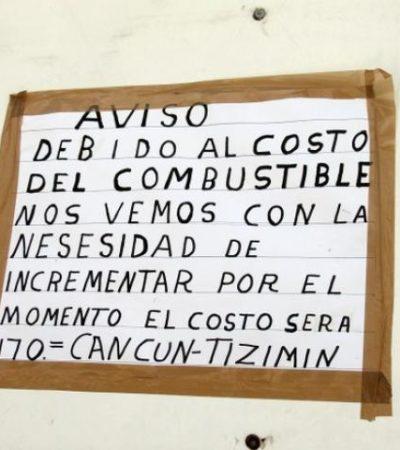 Por el alza del combustible, aumentan 20 pesos el costo de taxis foráneos de Cancún a Yucatán