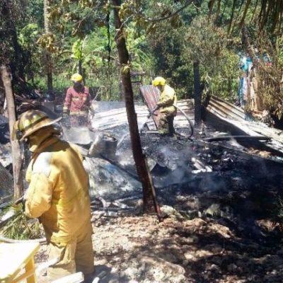 Rescatan a 2 niñas de incendio de palapa en colonia Tres Reyes en Cancún