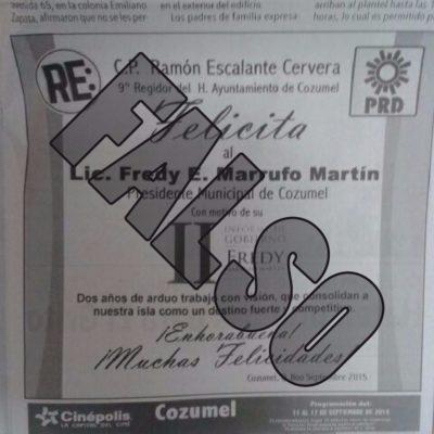 Denuncia PRD como falsa una inserción pagada para felicitar al Alcalde Fredy Marrufo a nombre de regidor opositor