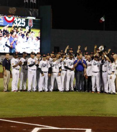 Tigres de Quintana Roo recibe trofeo 'Aro del juego de pelota'