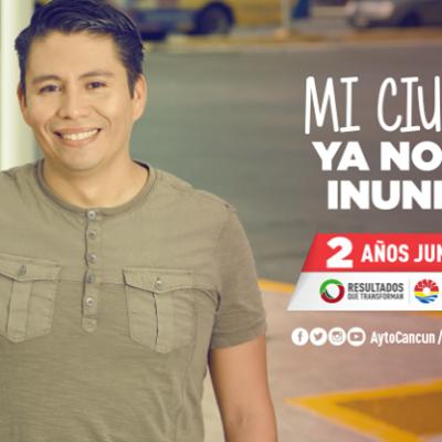 ¿MI CIUDAD YA NO SE INUNDA?: Cancún se va al agua por una lluvia pasajera a un mes de propaganda engañosa; el Alcalde, en Chetumal