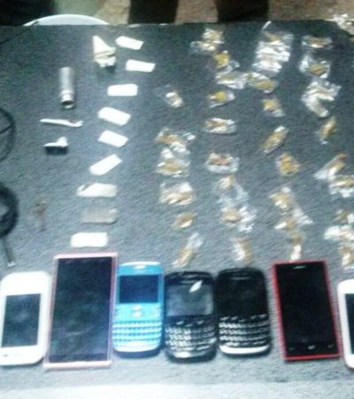 OPERATIVO EN LA CÁRCEL DE CANCÚN: Decomisan droga a granel, 45 armas blancas, celulares y hasta USB's