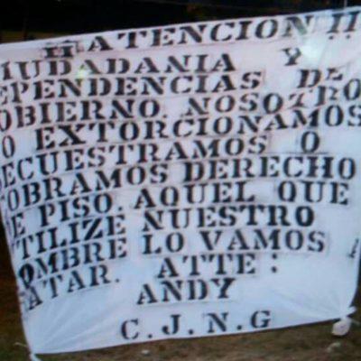 Cuelgan narcomantas en Bonfil y la Kabah de Cancún; hermetismo de autoridades