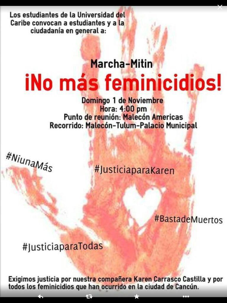 """""""¡NO MÁS FEMINICIDIOS!"""": Convocan estudiantes de la Unicaribe a marcha para exigir justicia para Karen, compañera violada y asesinada en Cancún"""