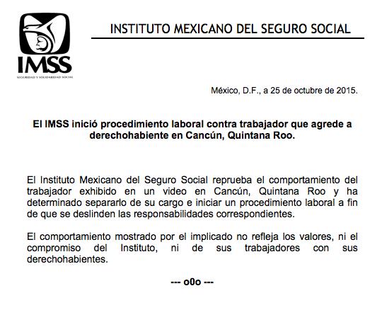 """""""YA TE DIJE, YA TE DIJE"""": Separan de su cargo a empleado de IMSS que agredió a golpes a derechohabiente por reclamar atención en Cancún"""