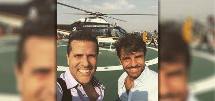 """""""VAMOS CON TODO!!"""": Usan Marco Antonio Regil y Eugenio Derbez helicóptero del Edomex como taxi aéreo"""
