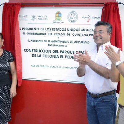 SE LE CAE OTRO TEATRO A MAURICIO: Exhiben en redes al Alcalde de Solidaridad por inaugurar parque ¡dos veces!
