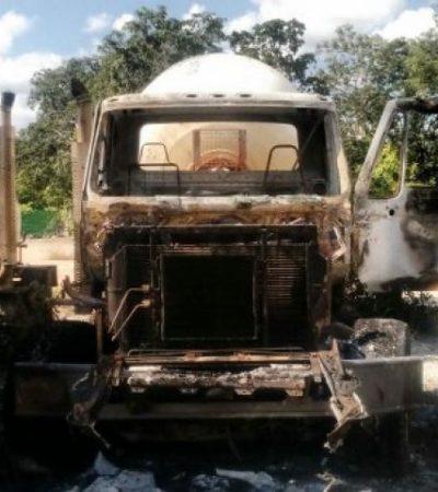 Incendian dos revolvedores de concreto en encierro de constructora en Cancún