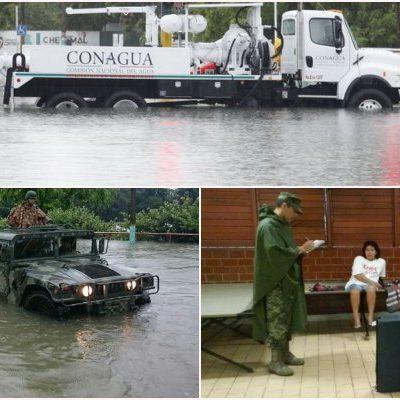 CON EL AGUA HASTA LAS RODILLAS: Declaran emergencia en 7 municipios; descartan daños en carretera y caminos por lluvia atípica; seguirá mal tiempo