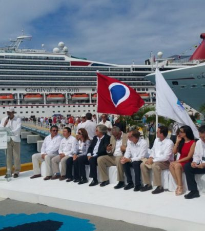 Inaugura Carnival ampliación de muelle Puerta Maya en Cozumel con atraque simultáneo de 3 cruceros