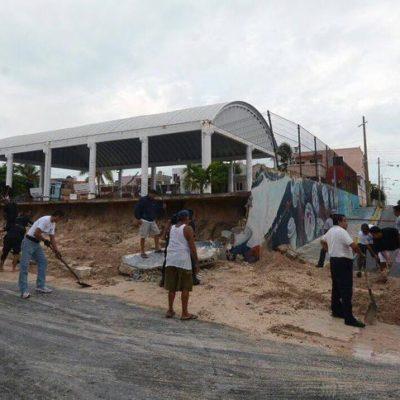 Peligro de desplome en domo de Isla Mujeres por deslave de tierra; cae barda