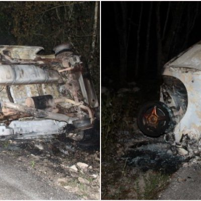 DANTESCO ACCIDENTE EN FCP: Un hombre calcinado y 14 heridos al chocar auto contra combi que trasladaba trabajadores de la Riviera Maya a Yucatán