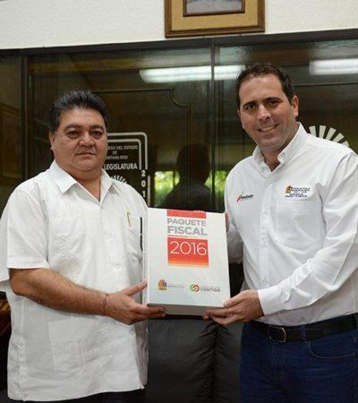 Recibe el Congreso de Quintana Roo paquete presupuestal 2016 por 23 mil mdp