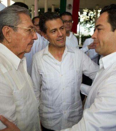 Se toma 'Chanito' Toledo la foto con el presidente cubano Raúl Castro en Mérida; 'Luzma' también se cuela