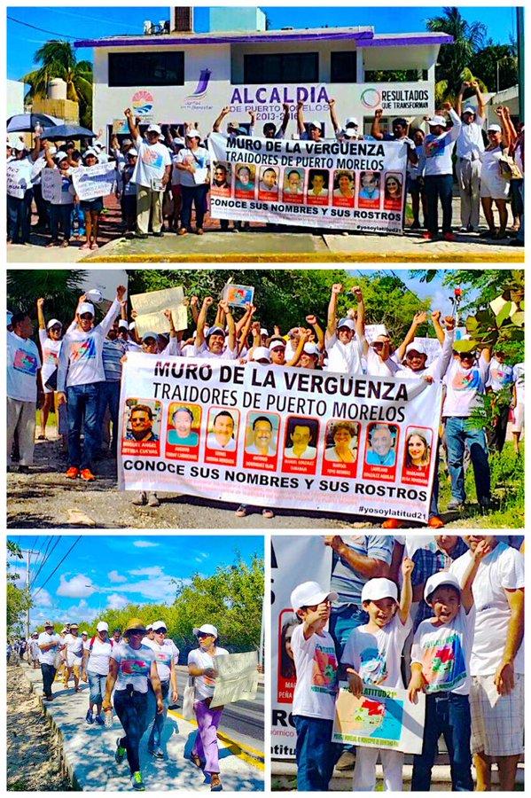 """""""EXIGIMOS LATITUD 21º"""": Realizan segunda protesta en Puerto Morelos para reclamar territorio arrebatado al crear nuevo municipio"""
