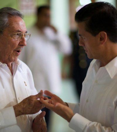 PEÑA RECIBE A RAÚL CASTRO EN MÉRIDA: Firman México y Cuba 5 acuerdos de cooperación