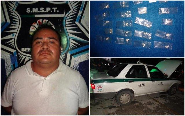 Con 20 dosis de 'crack', cae otro narcotaxista en Cancún