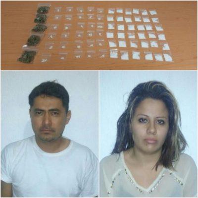 Con 66 dosis de cocaína y 'crack', detienen a narcotaxista y una mujer en la Región 92 de Cancún