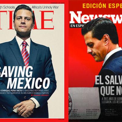 """""""EL SALVADOR QUE NO LO FUE"""": Revista 'Newsweek' dedica portada a Peña Nieto y parodia a la fallida 'Time' de febrero del 2014"""