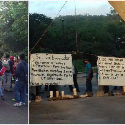 BLOQUEAN UNIVERSIDAD EN LA ZONA MAYA: Ejidatarios de 'La Presumida' reclaman indemnización por tierras ocupadas por la UIMQROO