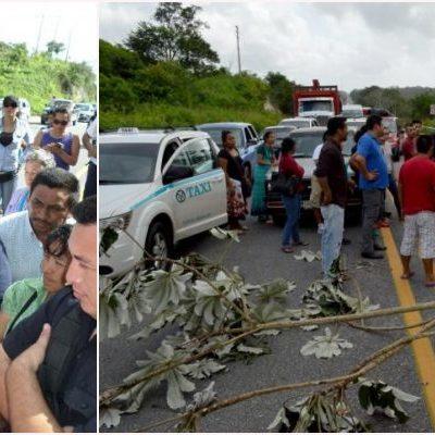 LE PEGAN A VIAJEROS CON BLOQUEO CARRETERO: Protesta de comuneros en Campeche trastorna durante 6 horas la vía Escárcega-Chetumal
