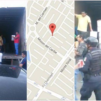 UBICAN BODEGA CON DESPENSAS EN PLAYA: Sorprenden a activistas del PRI descargando trailer en Misión del Carmen; se las achacan a Carlos Joaquín