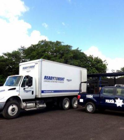 Denuncian como robado el camión detenido con presunto contrabando de cigarros en el sur de QR