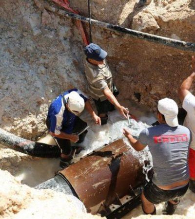 LA FUGA QUE DEJÓ SIN AGUA A  CHETUMAL: Reparan daños en tubería con 25 años de antigüedad