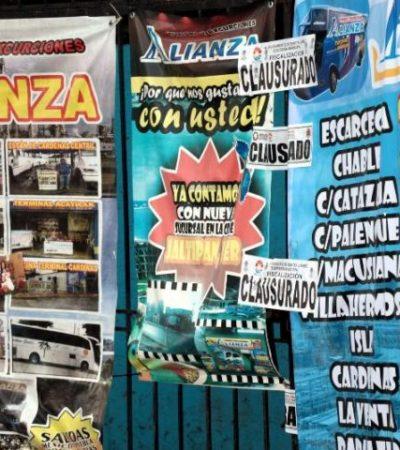 Clausuran 17 empresas transportadoras de segunda clase en la zona del 'Crucero' en Cancún