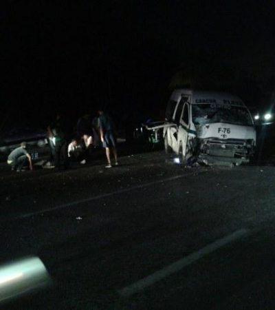 VUELCA VAN POR 'PESTAÑAZO': Un muerto y 8 heridos deja accidente en Cancún de unidad del transporte foráneo proveniente de Playa