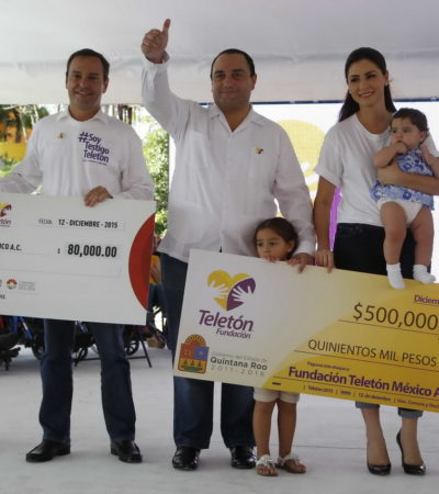 Da Borge $500 mil al Teletón a nombre de QR y le pone otros $50 mil de su bolsa; Paul Carrillo dona $80 mil