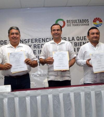 CEDEN RECURSOS A PUERTO MORELOS: Formalizan entrega-recepción de bienes al Concejo del nuevo municipio de QR