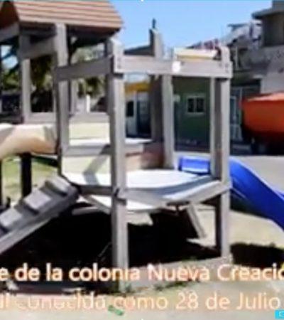 Exhiben en video 'mentiras' de Mauricio Góngora por abandono en parques de Playa del Carmen