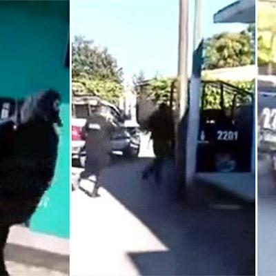DRAMÁTICO VIDEO: Policías huyen de sicarios y permiten ejecución de un hombre en Sinaloa