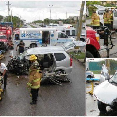 DRAMÁTICO FIN DE VACACIONES PARA UNA FAMILIA: Por exceso de velocidad, estrella auto contra poste con saldo de 6 heridos en bulevar de Playa