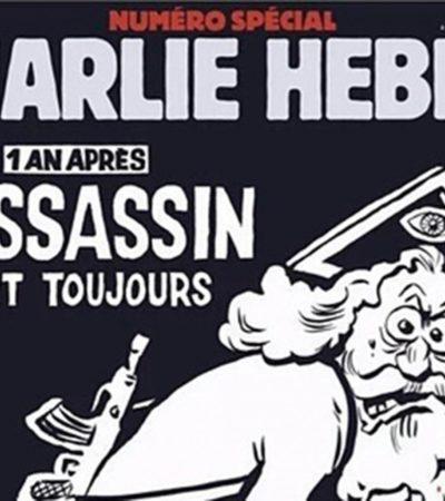 """""""EL ASESINO SIGUE A LA FUGA"""": Con edición especial y polémica, revista satírica 'Charlie Hebdo' conmemora un año de atentado en París"""